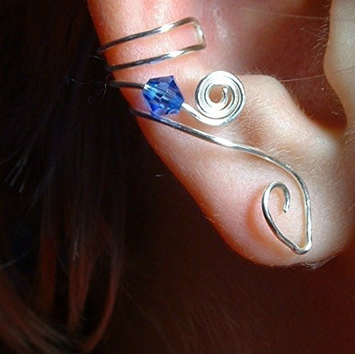 Swarovski Crystal Ear Cuff No Piercing Required Sapphire Blue