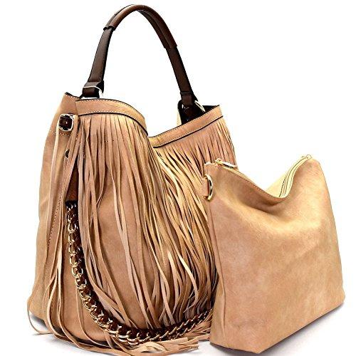2pc Handbag Republic Fringe Hobo w/inner Bag Crossbody (Taupe)