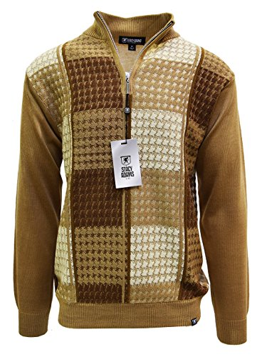 Tan Pullover Sweater (SAFIRE SILK INC. Stacy Adams Men's Sweater, Multi Square Houndstooth Pattern (XXL, Tan))