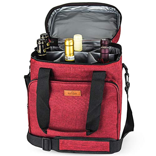 (Freshore Insulated Wine Carrier 6 Bottle Bag Tote Removable Padded Divider - Portable Travel Padded Cooler Carrying Canvas Case Adjustable Shoulder Strap - (Passion Red) )