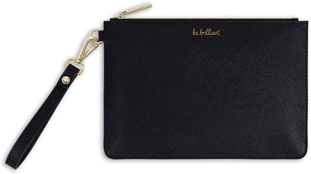 Katie Loxton Black Be Brilliant Women's Faux Leather Clutch Perfect Pouch
