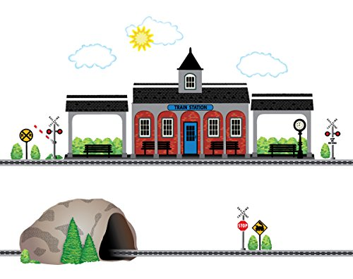 Train Station and Tunnel with Straight RR Track Movable Mural Wall Decals (Repositionable) Peel and Stick! Color 1