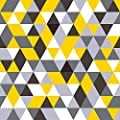 WallsByMe Peel and Stick Yellow and Grey Triangles Geometric Removable Wallpaper 3954