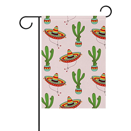 field tree Home Polyester Fabric Garden Flags 28x40 inch,Mexican Sombrero Green Cactus Plants Lovely Mildew Resistant Custom Waterproof (Custom Sombrero)