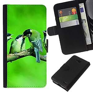 All Phone Most Case / Oferta Especial Cáscara Funda de cuero Monedero Cubierta de proteccion Caso / Wallet Case for LG OPTIMUS L90 // Cute Birds Baby Nature Spring Green