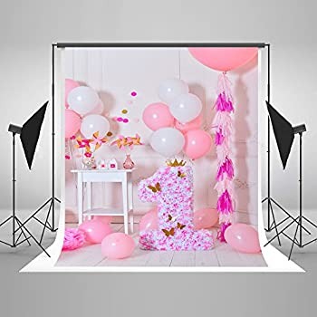 Photography Background Backdrops 5x7 Gold Crown Flowers Candle Pink Balloons Backdrop For Princess Birthday Party Photocall