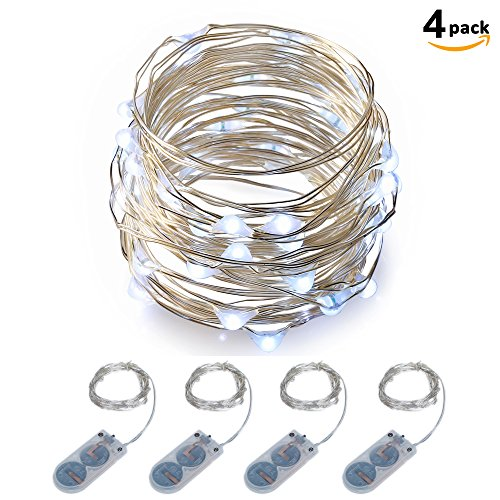 Micro LED String Lights Battery Powered ITART Set of 4 Cool White Mini Light 20 LEDs / 6 Feet (2m) Ultra Thin Silver Wire Rope Lights for Christmas Trees Wedding Parties Bedroom