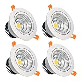 LightingWill LED Downlight 16W CRI80 Dimmable COB Directional Recessed Ceiling Light Cut-out 4.5in (115mm) 60 Beam Angle 5500K-6000K Daylight White 120W Halogen Bulbs Equivalent 4-Pack