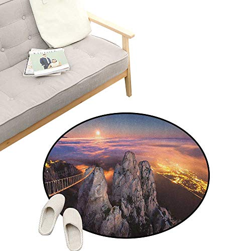 """Americana Non-Slip Round Rug ,Night View in Ai Petri Full Moon Sunset in Alps Rocky Mountains Picture Print, Washable Living Room Bedroom Kids 47"""" inch Multicolor"""