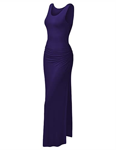 HiQueen Women's Split Sleeveless Bodycon Long Casual Summer Maxi Beach slit Dress
