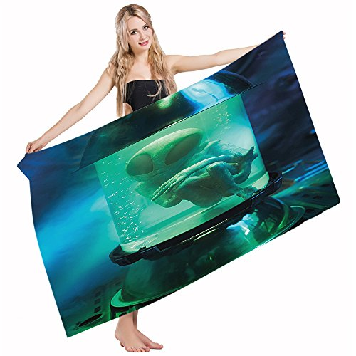 Mugod Bath Towel Beach Towel Outer Space Martian UFO Alien Blue Sky Blue Light Green Quick Drying Bath Towels Cotton Polyester for Home Bathroom Pool and Gym 32 X 64 Inches