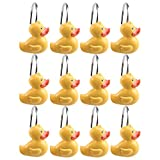 AGPtek 12PCS Home Fashions Yellow DUCK Anti Rust Decorative Ducky Resin Hooks for Bathroom Shower Curtain ,Bedroom,Living room Curtain