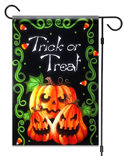 51groups Halloween Garden Flag 12'X18 | Happy Halloween Designer Flag | Trick or Treat Flag I Fall Decorative Flag I Weatherproof, Small Banner Size (Trick or Treat Halloween -