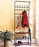 Wood Seat Shelf Hall Tree Rustic Entryway Storage Bench Coat Rack Black Metal