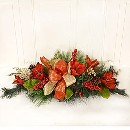 Floral Home Decor Amaryllis Navidad centro de mesa cr1541: Amazon ...