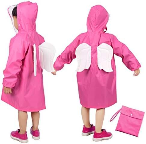 Kids Raincoat, Rainbrace Girl Boy Carton Waterproof Hood Jacket Outdoor Age 2~12