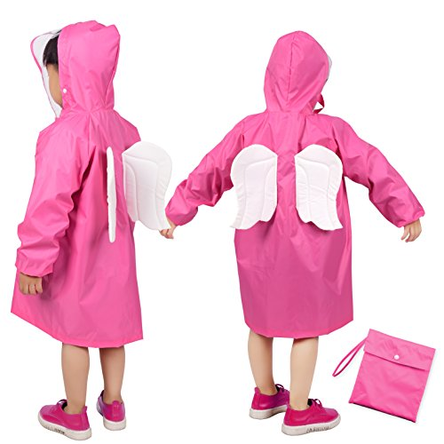 Rainbrace Kids Raincoat, Children Carton Waterproof Hooded Rain Poncho Age 6-12 Hooded Girls Raincoat