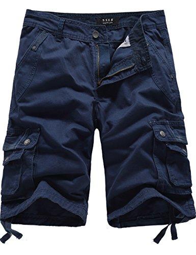 SSLR Men's Casual Cotton Classic Cargo Shorts (32,