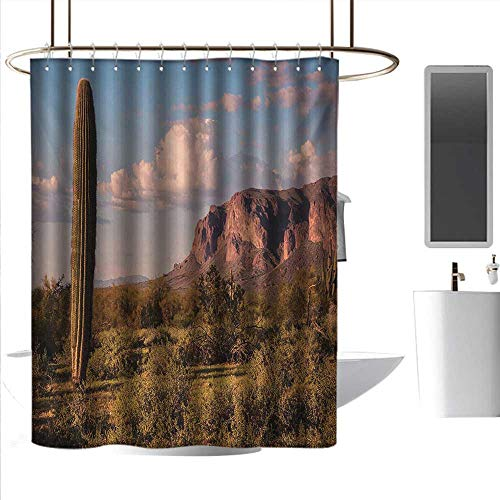 Shower Curtains Thistle Saguaro,Mountain State Park with Non Spiral Sided Leaf Aleo Storage Landscape Photo,Brown Blue Green,W72 x L72,Shower Curtain for ()