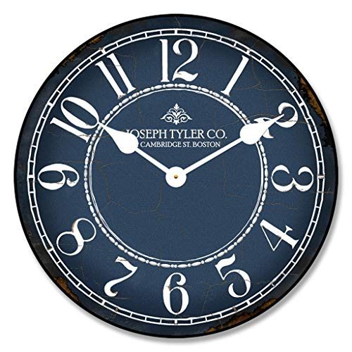 Blue & White Wall Clock, Available in 8 Sizes, Most Sizes Ship The Next Business Day, Whisper Quiet.