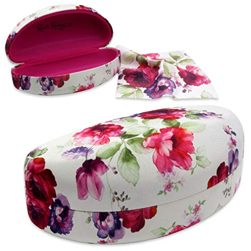 Rachel Rowberry Floral Large Sunglasses Case with eyeglass cleaning cloth in a unique Microfiber ultra soft finish | for Large frames (AS179 Cranberry Rose)