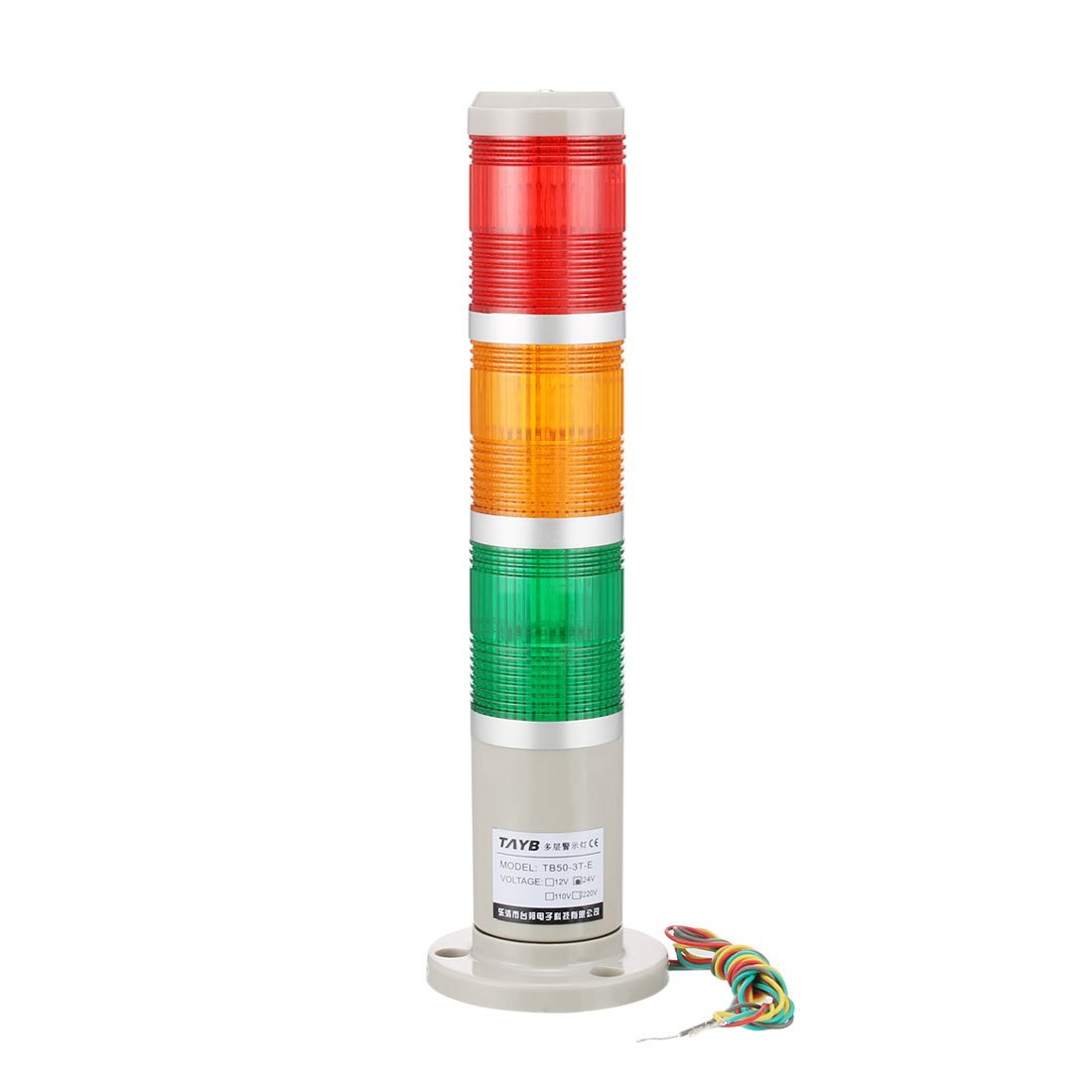 uxcell Warning Light Bulb Bright Industrial Signal Alarm Lamp DC24V Red Green Yellow TB50-3T-E
