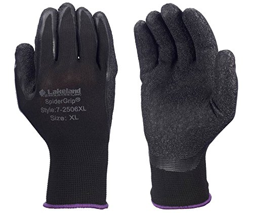 Lakeland 7-2506 SpiderGrip Lightweight Polyester Latex Dipped Glove, Work, Large, Black (12 (Latex Dipped Work Gloves)