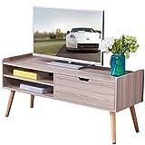 Dland TV Stand WF-TVG002TK, 2-Shelf & 1-Drawer, 46'' Entertainment Center Console Storage Cabinet, Composite Wood Board, Teak, 1 Pack