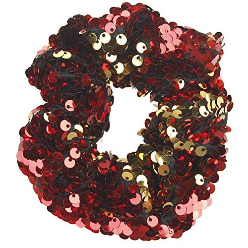 (Girls Headwear Elastic Hair Bands Sequins Ornament Rings Hair Rubber Bands (Color - Red))