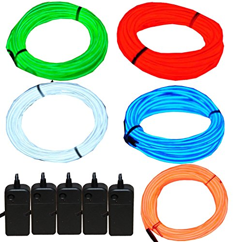 JYtrend 5 Pack 9ft Neon Light El Wire w/Battery Pack -