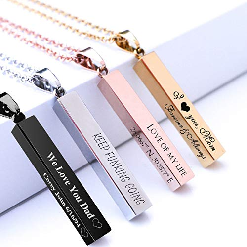 Personalized 3D Bar Necklace, Stainless Steel Custom Engraved Initial Name Necklace Customized Vertical Pendant for Mother's ()