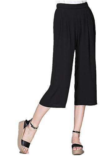 Bestor Fashion Mujer Gasa Amplia Pierna Pantalones Casual con banda en la cintura de pantalón corto
