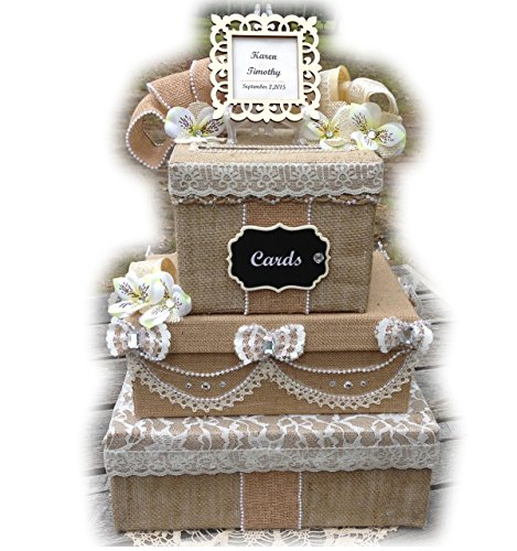 Rustic Wedding Card Box with Slot, 3 tiers, burlap, lace, holds 250 cards, Victorian, All The Best Card Boxes