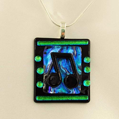 Blues Tenor Trumpet - MUSIC LOVER Dichroic Fused Glass Jewelry Pendant with Necklace for Band Musician or Singer