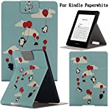 Newshine(TM) Case For Kindle Paperwhite,Ultra Slim PU Leather Smart Case Build in Magnetic with [Auto Sleep/Wake Function] for Amazon Kindle Paperwhite 2015 2013 2012 6'' E-reader (Flying Penguins)