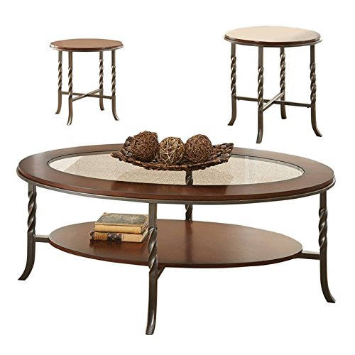 Steve Silver Company Vance Occasional Table (3 Pack), 48''W x 26''D x 18''H/22''W x 22''D x 22''H