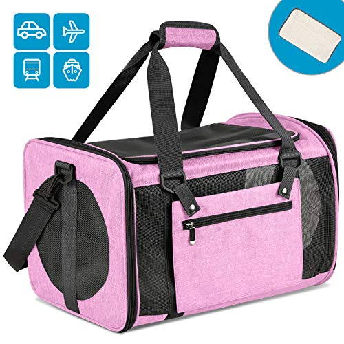 Moyeno Airline Approved Pet Carrier Soft Sided Pet Carrier Floding – Three Entrances with Self Locking Zipper, Fleece Bottom, Luggage Adjustable Strap, Leash Tether, Independent Zipper Pocket (Pink)