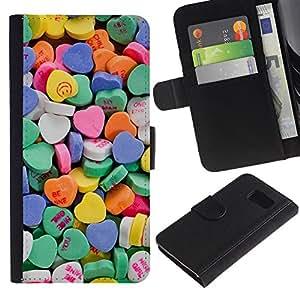 LASTONE PHONE CASE / Lujo Billetera de Cuero Caso del tirón Titular de la tarjeta Flip Carcasa Funda para Samsung Galaxy S6 SM-G920 / Heart Candy Valentines Sweets Love
