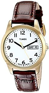 Timex Men's T2N065 Elevated Classics Gold-Tone Watch with Brown Leather Band