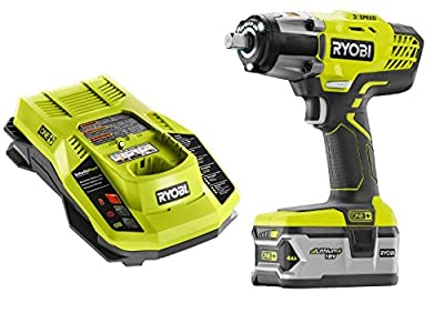 Ryobi P1830 Impact Wrench Kit 18V One+ 3 Speed 1/2 in with Dual Chemistry Charger and High Capacity Battery
