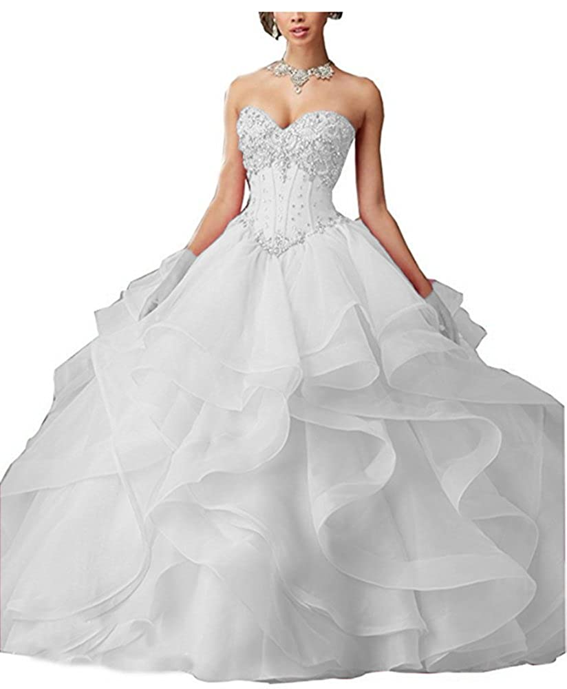 White FWVR Women's Crystals Asymmetric Long Puffy Prom Quinceanera Dresses Ball Gown