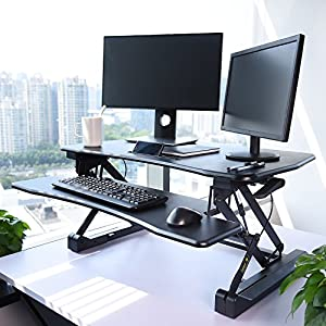 "FEZIBO Black Height Adjustable Standing desk 36"" Stand up Converter 