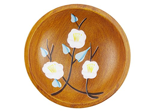 Garden Style Wooden Plate Round Shape with Peach Blossom Pattern Fruit Candy Dish Tray