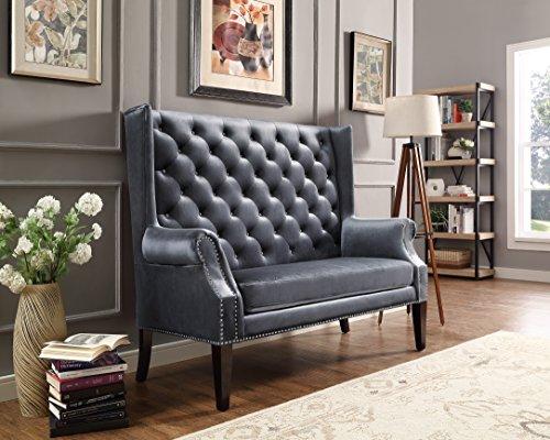 Velvet Tufted Border - Roundhill Furniture AC301GY Bella Crystal Button Tufted Velvet Loveseat, Grey