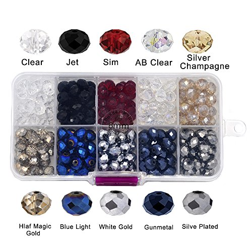 Thunder Polish Crystal Glass Beads Faceted 8x6mm Roundel Shape #5040 Wholesale, Top 10 Assorted Colors With Container Box (300 - Beads Mm 6 Roundel