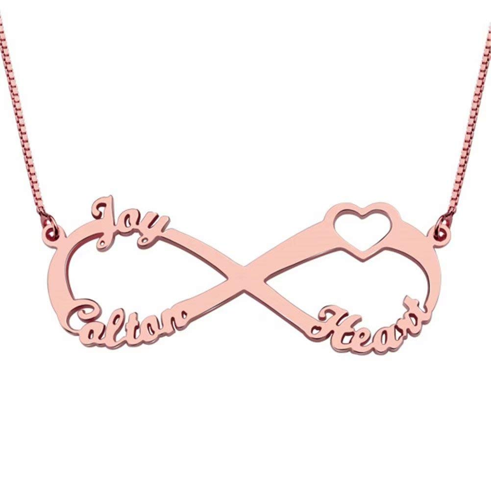 Name Necklace Personalized-Infinite Pendant with Heart Family Names
