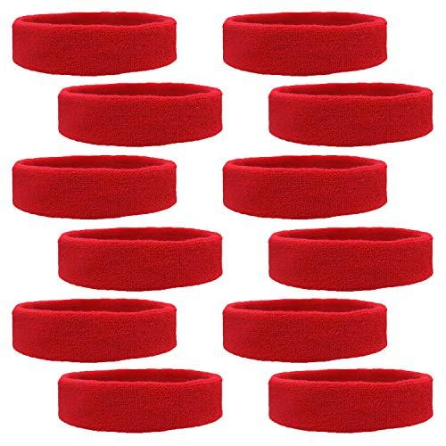 (Kenz Laurenz 12 Sweatbands Cotton Sports Headbands Terry Cloth Moisture Wicking Athletic Basketball Headband (12 Pack) (Red 12 Pack))