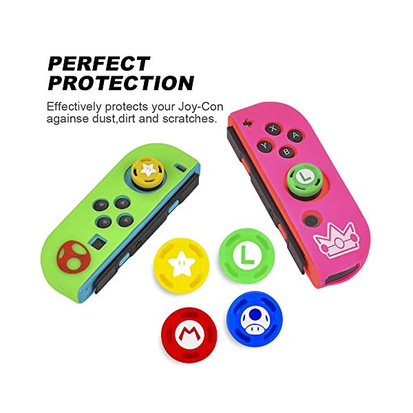 Skins/Protectors for Nintend Switch Joycon Nintendoswitch Soft Silicone Protective Case Controller Cover for Nintendo Switch Gamepad-(Green&Yellow) 5