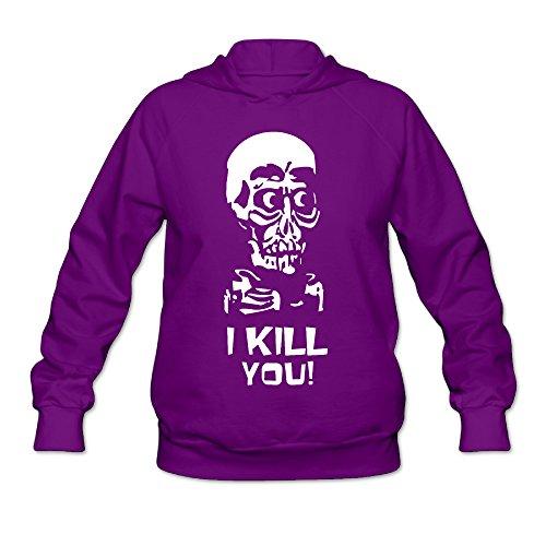 Wesley Jeff Dunham Skull Wen's Cool Fleece Hoodie Purple L (Jeff Dunham Peanut Costume)