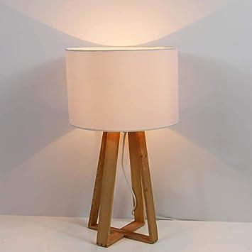 Mina Design Tischlampe Holz Weiss 48 Cm Tischleuchte Lampe Mit